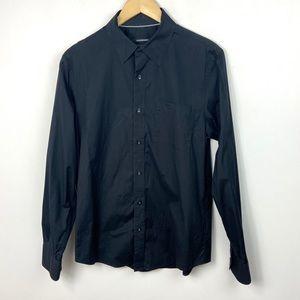 Club Monaco Black Dress Shirt Button Up Men Medium